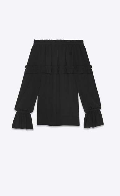 SAINT LAURENT Tops and Blouses Woman Gypsy blouse with smocked shoulders in black silk georgette a_V4