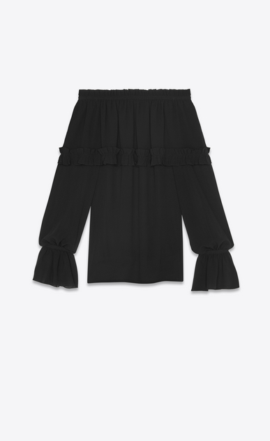 SAINT LAURENT Tops and Blouses Woman Gypsy blouse with smocked shoulders in black silk georgette b_V4