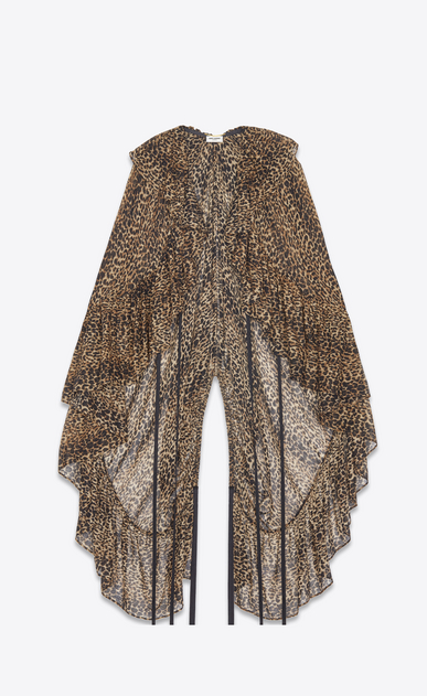 SAINT LAURENT Tops and Blouses Woman Ruffled cape in brown and black leopard print etamine a_V4