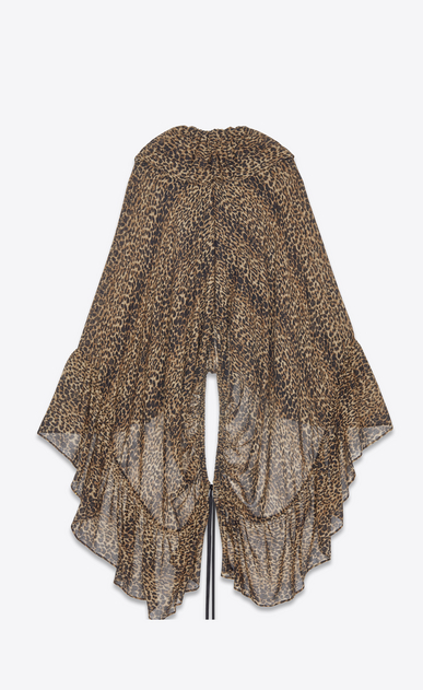 SAINT LAURENT Tops and Blouses Woman Ruffled cape in brown and black leopard print etamine b_V4