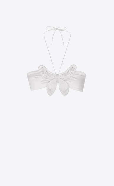 SAINT LAURENT RTW accessories Woman Bow tie beaded bra in chalk-colored washed satin a_V4
