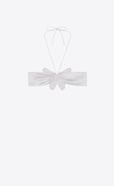 SAINT LAURENT RTW accessories Woman Bow tie beaded bra in chalk-colored washed satin b_V4