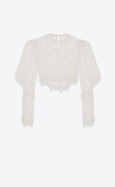 SAINT LAURENT Tops and Blouses Woman Blouse with puffy sleeves in ivory lace b_V4