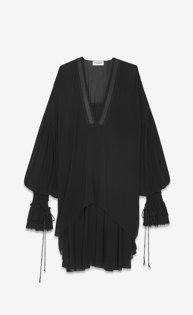 SAINT LAURENT Tops and Blouses Woman Long peasant blouse in black silk georgette a_V4