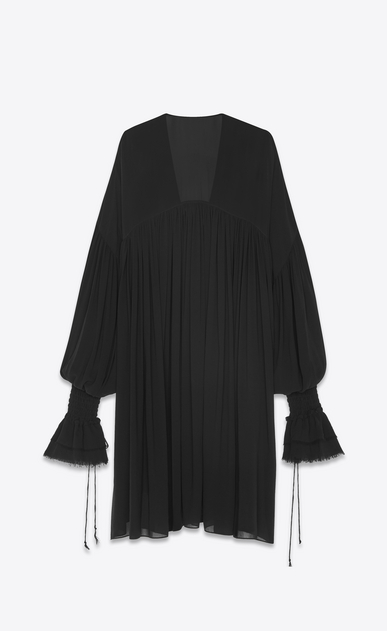 SAINT LAURENT Tops and Blouses Woman Long peasant blouse in black silk georgette b_V4