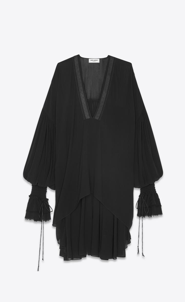 Long Peasant Blouse In Black Silk Georgette