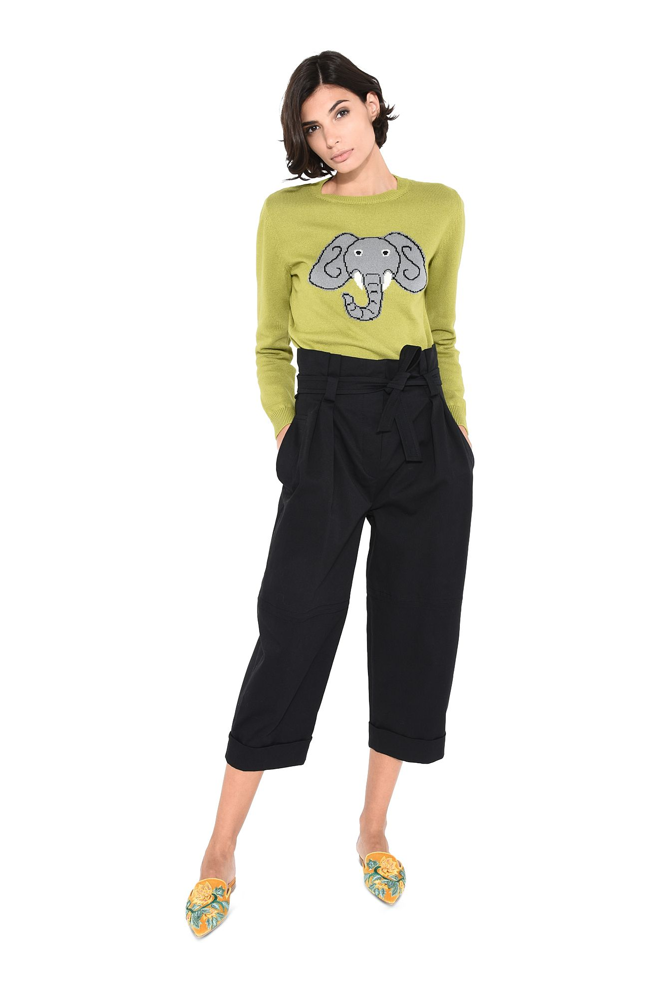 Green sweater with elephant