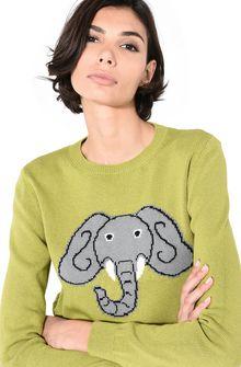ALBERTA FERRETTI Green sweater with elephant KNITWEAR Woman a