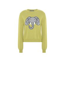ALBERTA FERRETTI Green sweater with elephant KNITWEAR Woman e