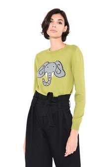 ALBERTA FERRETTI Green sweater with elephant KNITWEAR Woman r