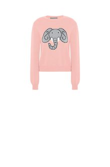 ALBERTA FERRETTI Pink sweater with elephant KNITWEAR Woman e