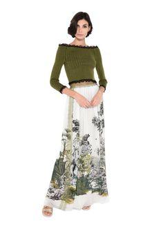 ALBERTA FERRETTI Cropped sweaters Woman Mini-sweater in striped cotton f