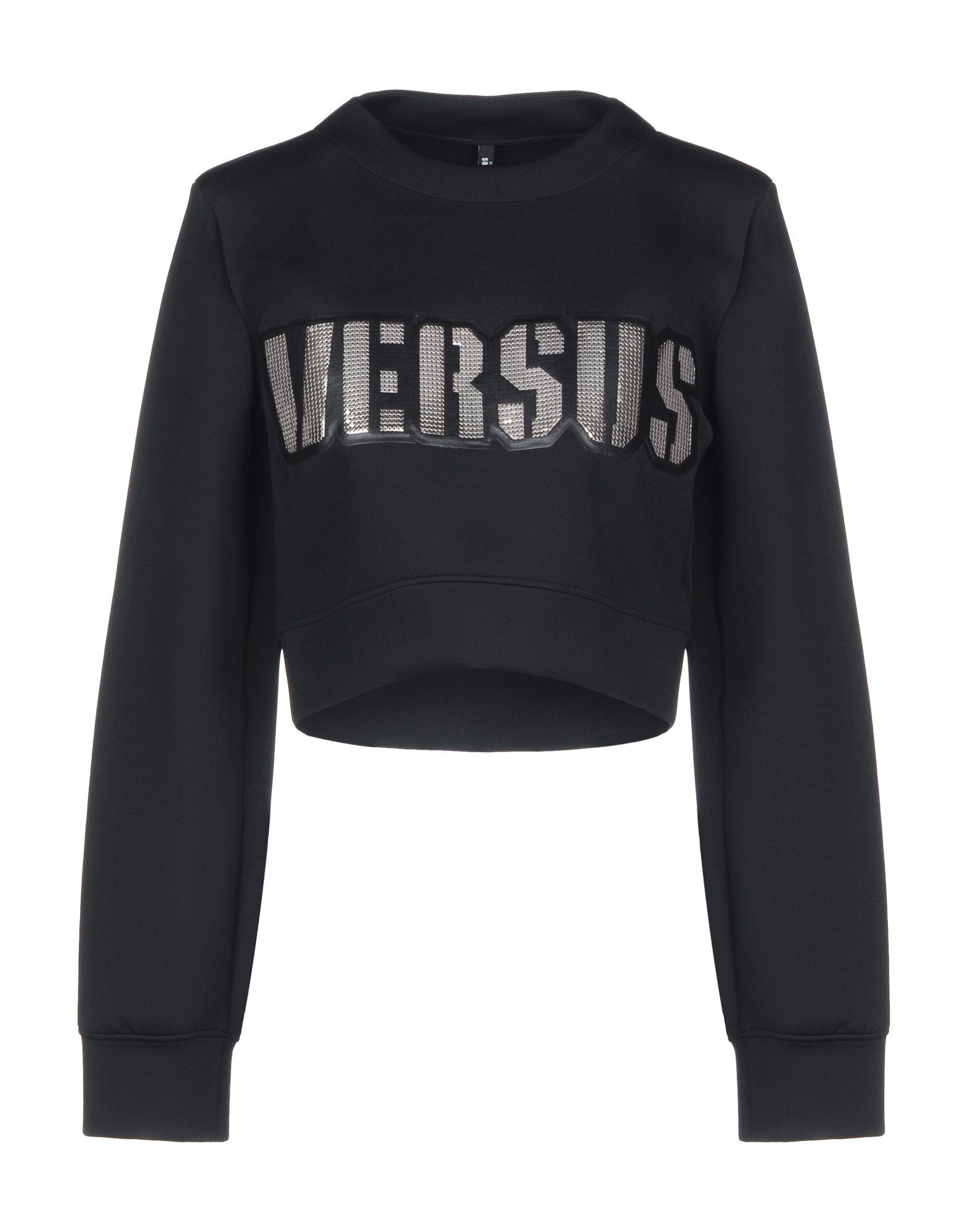 《セール開催中》VERSUS VERSACE レディース スウェットシャツ ブラック M 84% ナイロン 16% ポリウレタン