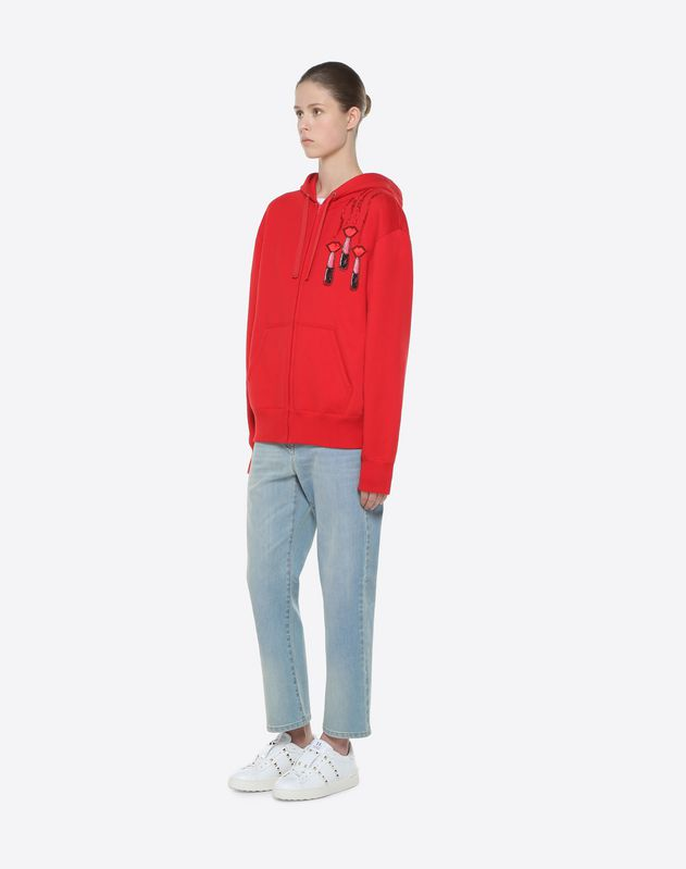 Sweatshirt with Valentino and Lipstick embroidery