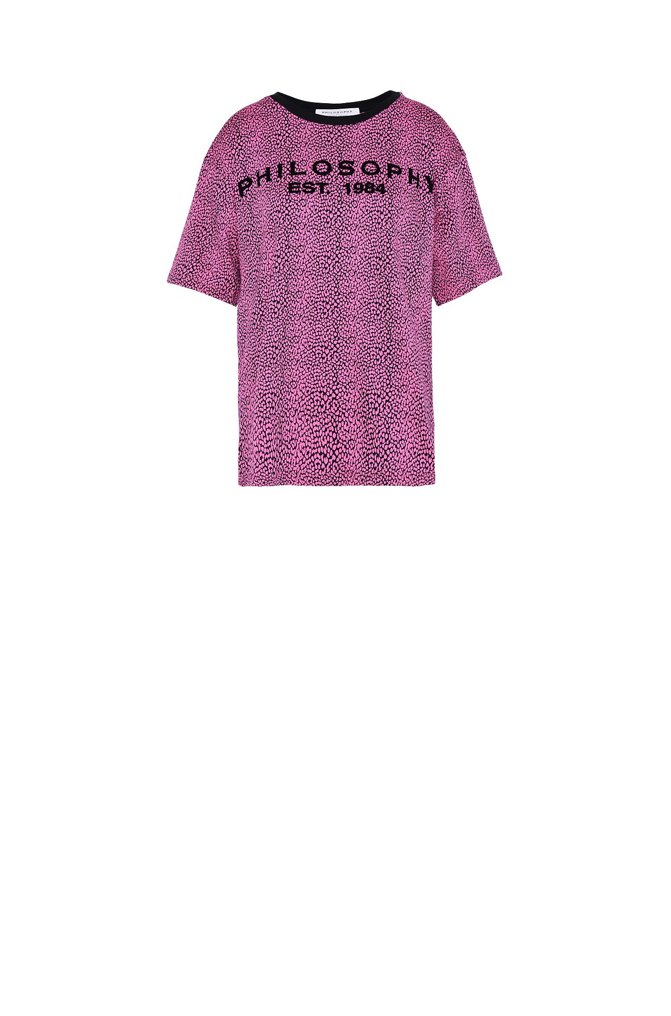 Fuchsia T-shirt with micro animal pattern
