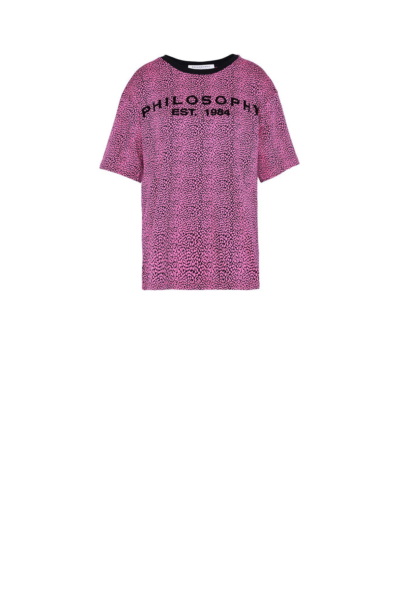 小さな斑点柄赤紫Tシャツ