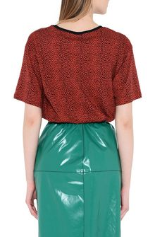 PHILOSOPHY di LORENZO SERAFINI Red T-shirt with micro animal pattern T-shirt Woman d