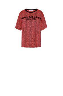 PHILOSOPHY di LORENZO SERAFINI Red T-shirt with micro animal pattern T-shirt Woman f