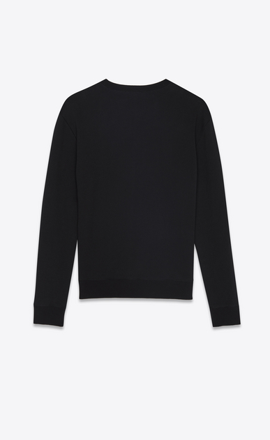 SAINT LAURENT Sportswear Tops Man sweatshirt in black cotton fleece embroidered with saint laurent in neon b_V4