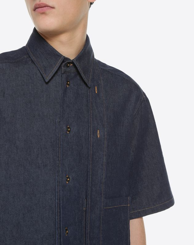 Short-sleeve couture denim shirt