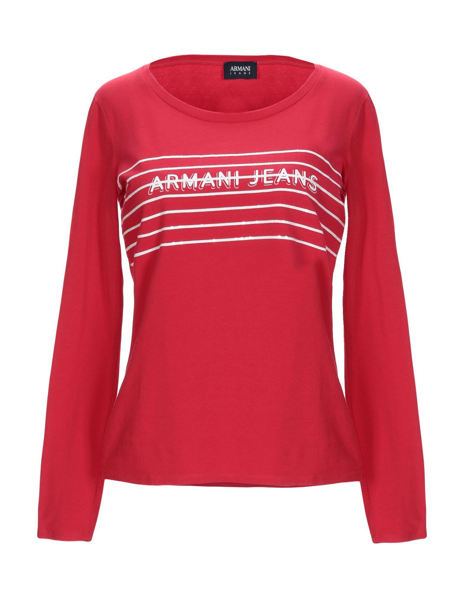 《送料無料》ARMANI JEANS レディース T シャツ レッド 38 コットン 95% / ポリウレタン 5%