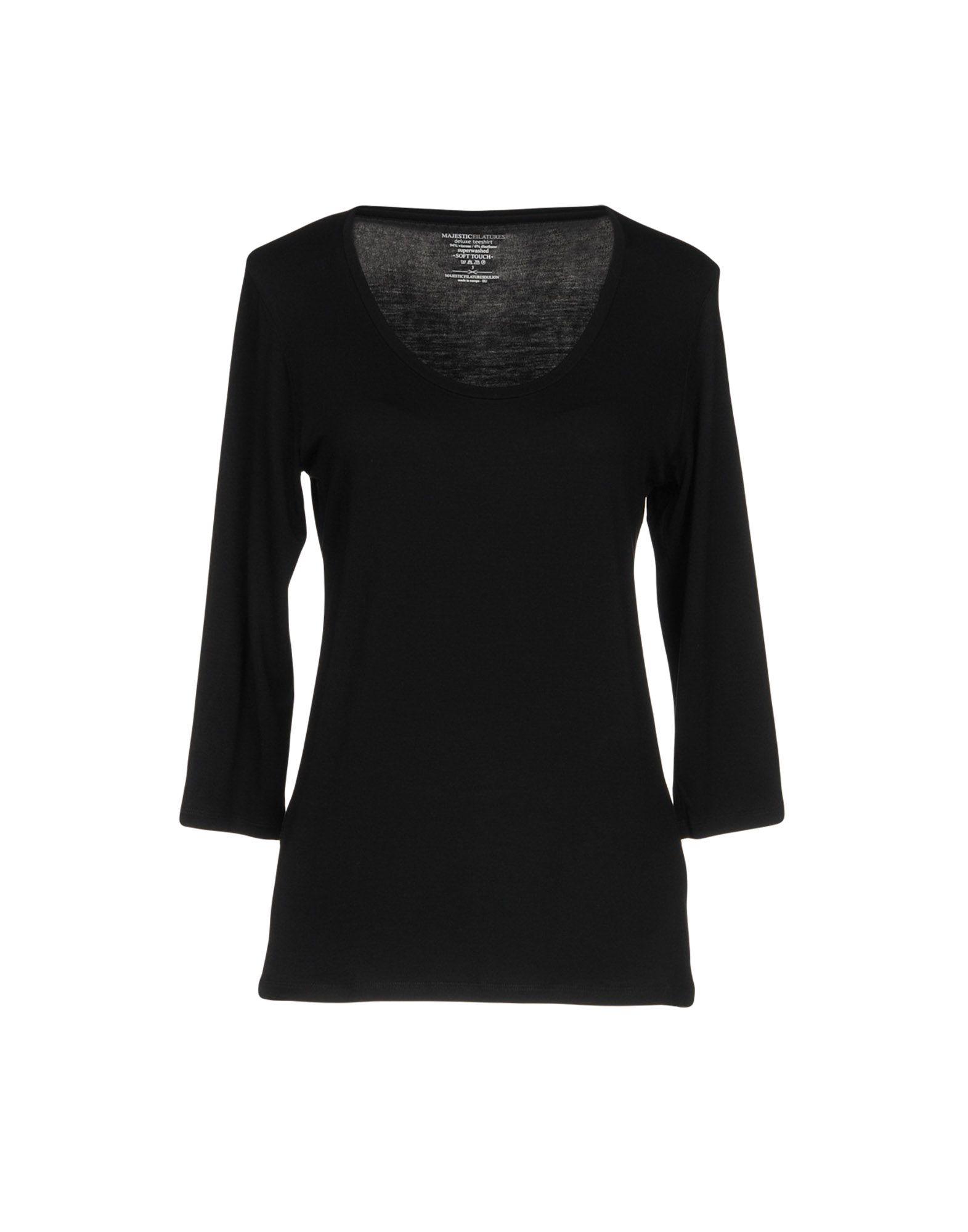 《期間限定セール開催中!》MAJESTIC FILATURES レディース T シャツ ブラック 3 レーヨン 94% / ポリウレタン 6%