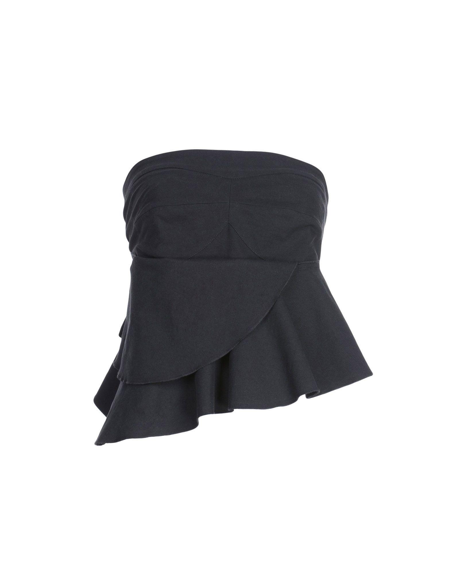 ISABEL MARANT Tube tops. plain weave, no appliqués, basic solid color, deep neckline, one-shoulder, front closure, hook-and-eye closure, no pockets. 70% Cotton, 29% Viscose, 1% Elastane