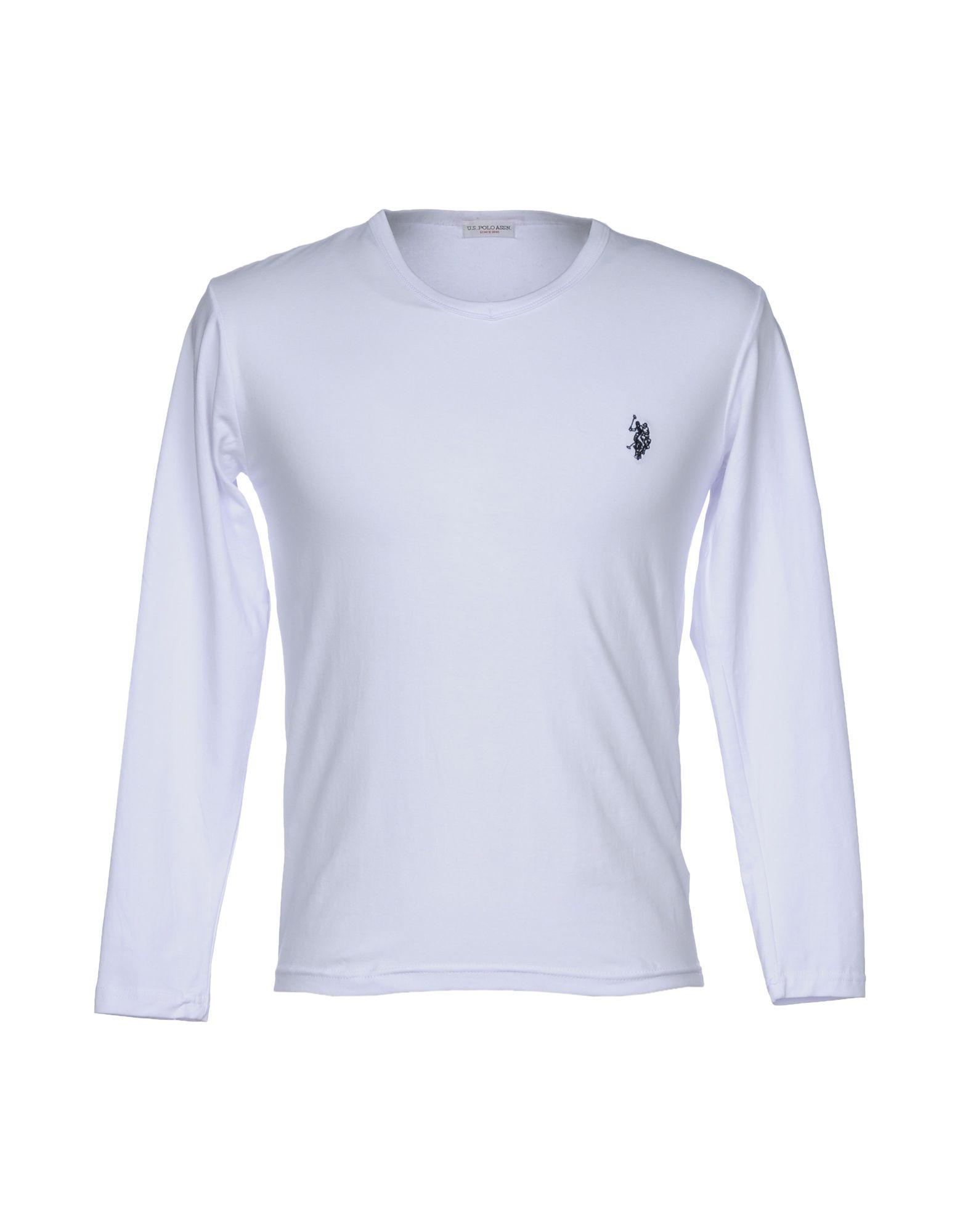 《送料無料》U.S.POLO ASSN. メンズ T シャツ ホワイト M コットン 95% / ポリウレタン 5%