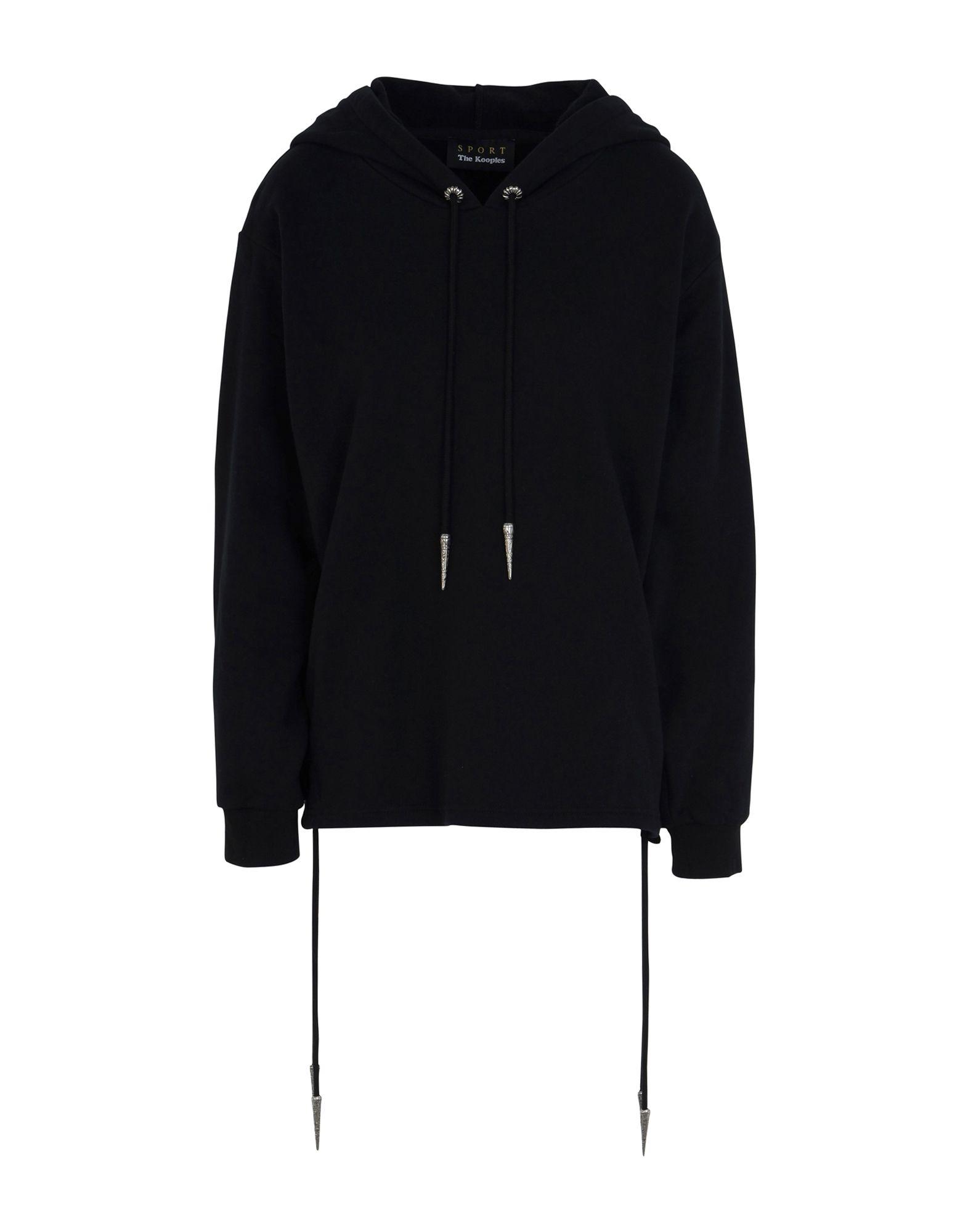 《送料無料》THE KOOPLES SPORT レディース スウェットシャツ ブラック 1 コットン 100% SWEATER WITH LACE DETAILS AT THE BOTTOM BODY