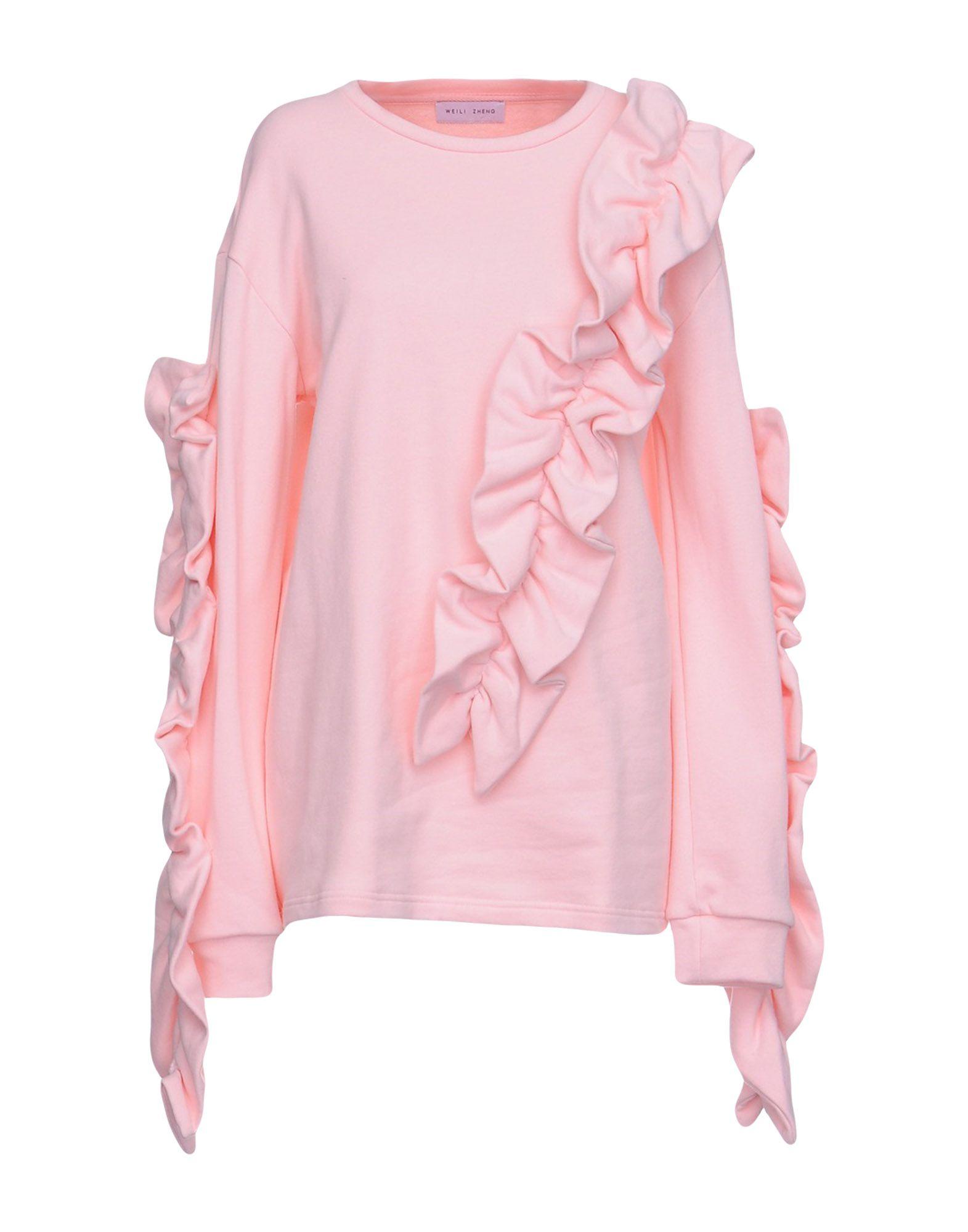 《送料無料》WEILI ZHENG レディース スウェットシャツ ピンク M コットン 100%