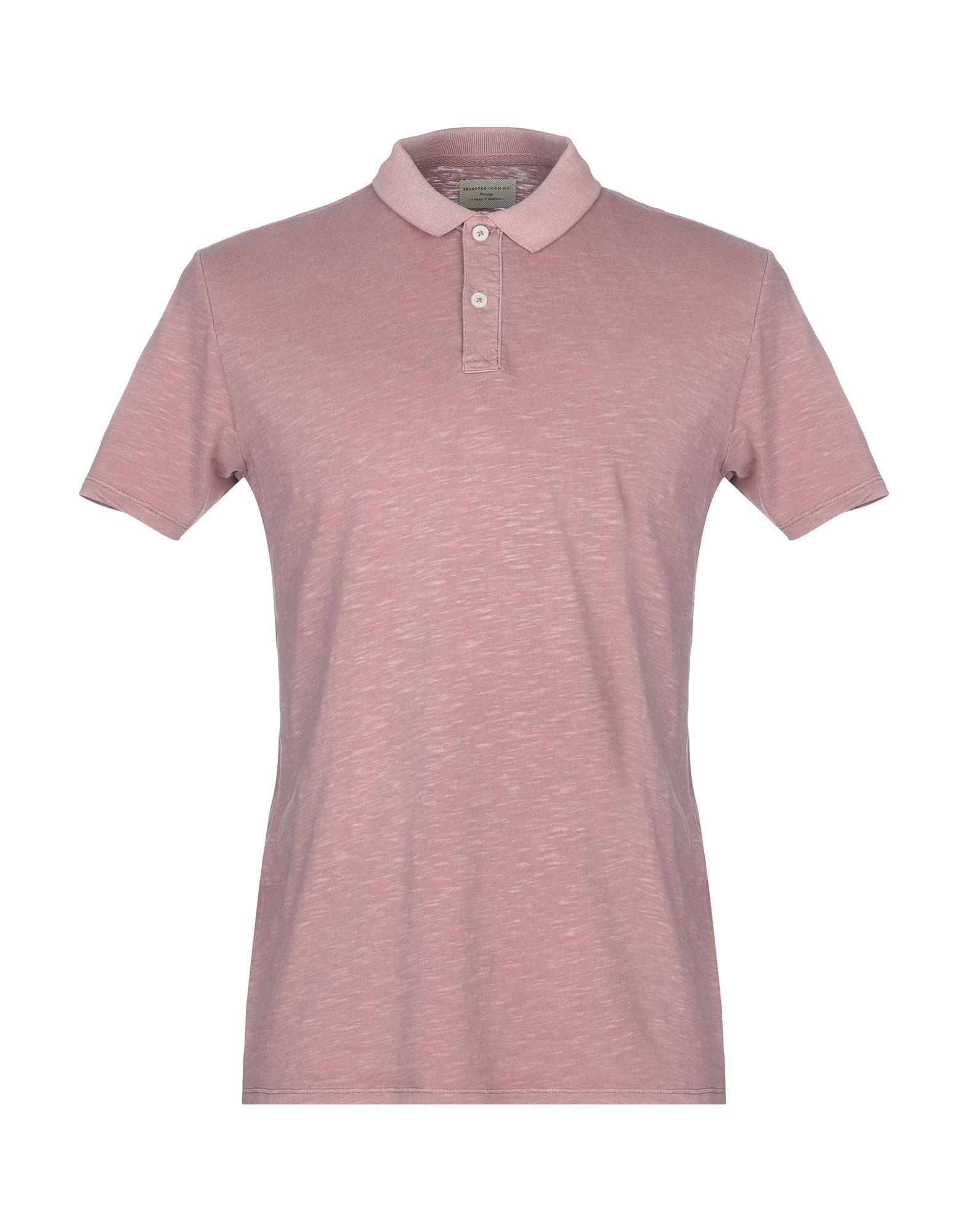 《送料無料》SELECTED HOMME メンズ ポロシャツ パステルピンク S コットン 100%