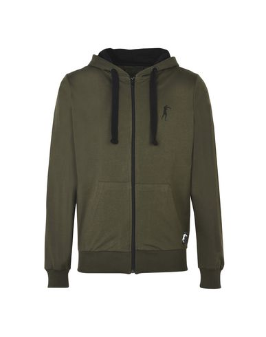 BOXEUR DES RUES メンズ スウェットシャツ ミリタリーグリーン S コットン 100% BASIC FZIP HOODIE WITH CONTRAST DETAILS