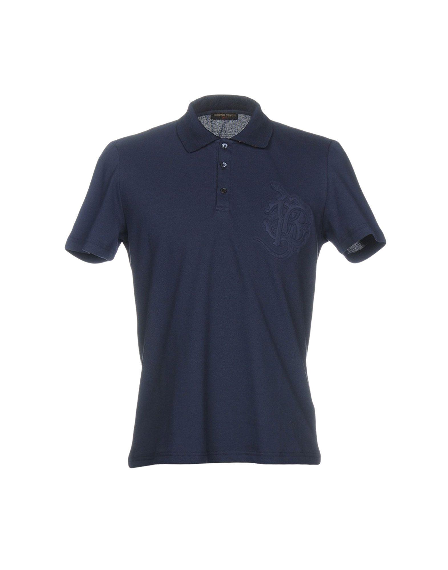 《送料無料》ROBERTO CAVALLI GYM メンズ ポロシャツ ダークブルー 46 100% コットン