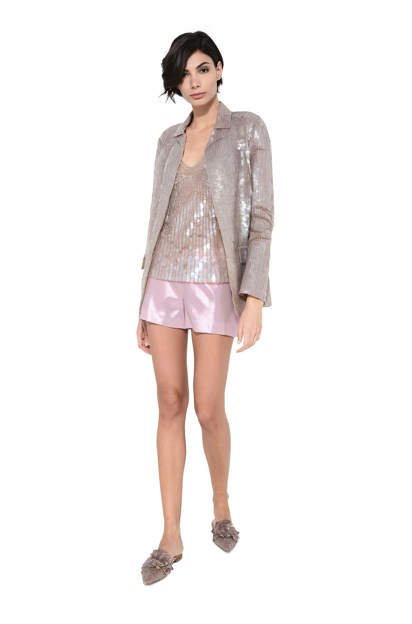 Top in silk tulle with sequins