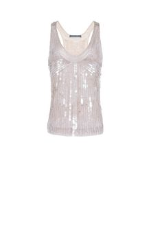 ALBERTA FERRETTI Top in silk tulle with sequins TOPWEAR Woman e