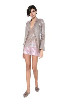 ALBERTA FERRETTI Top in silk tulle with sequins TOPWEAR Woman f