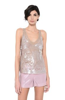 ALBERTA FERRETTI Top in silk tulle with sequins TOPWEAR Woman r