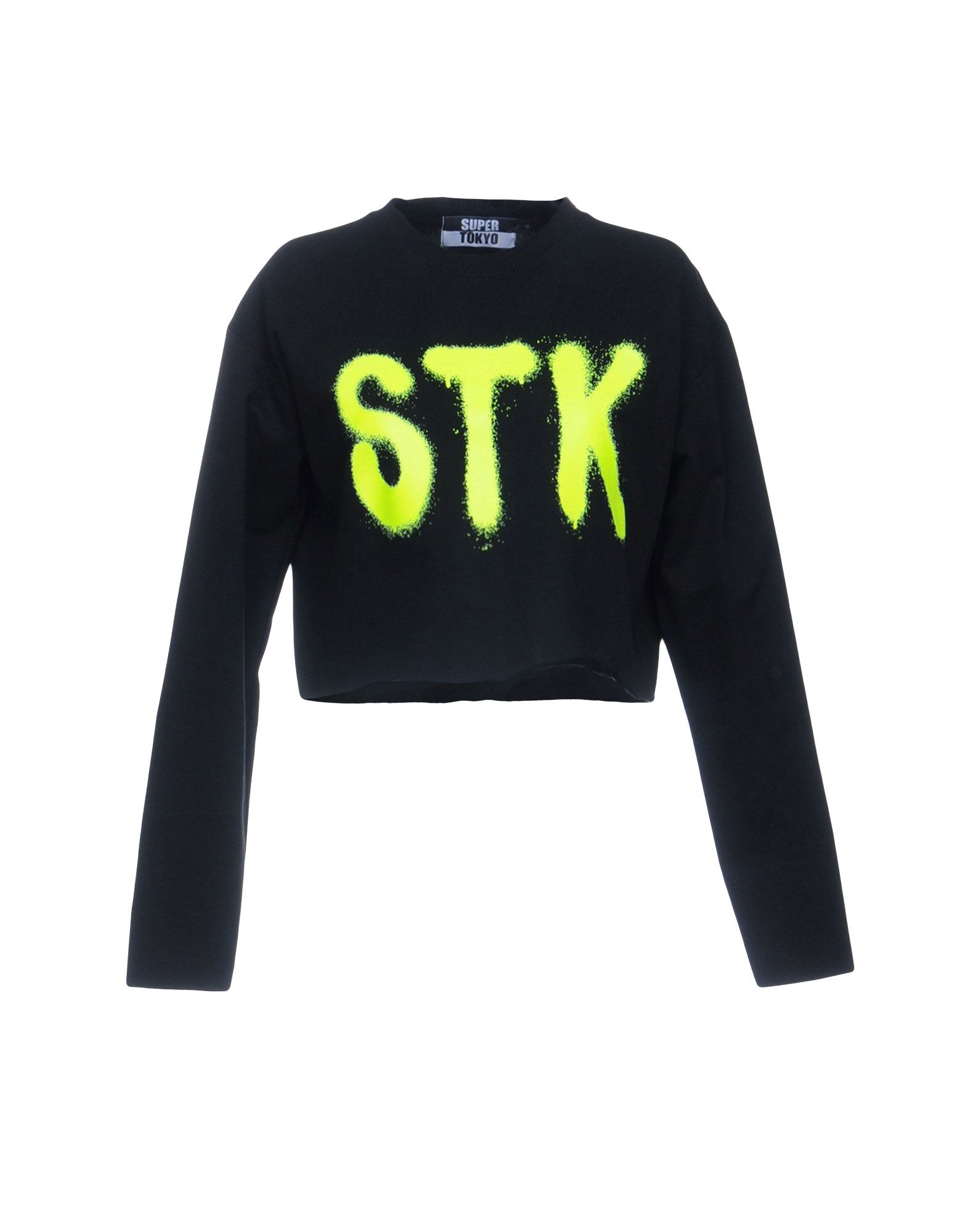 《送料無料》STK SUPERTOKYO レディース スウェットシャツ ブラック M コットン 100%