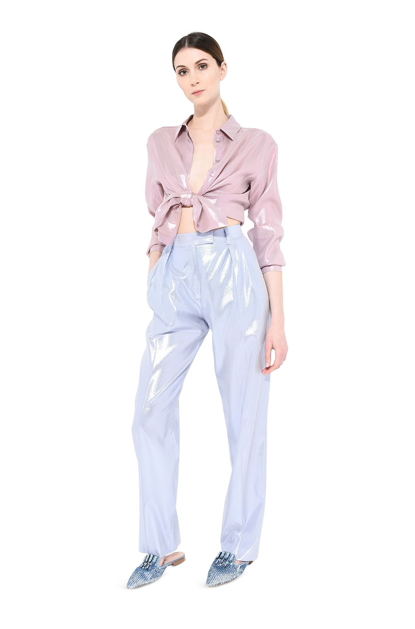 Camicia in lamé rosa