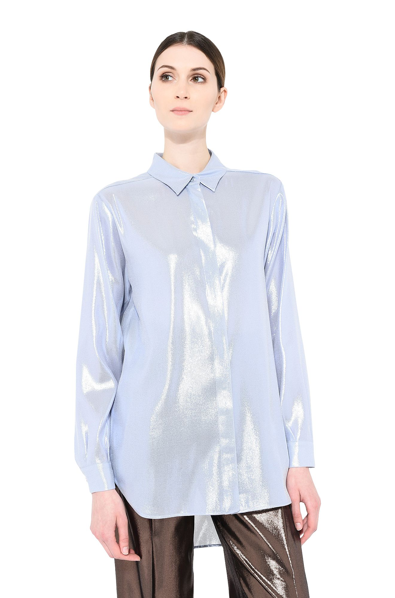 ALBERTA FERRETTI SHIRT Woman Light blue lamé shirt r