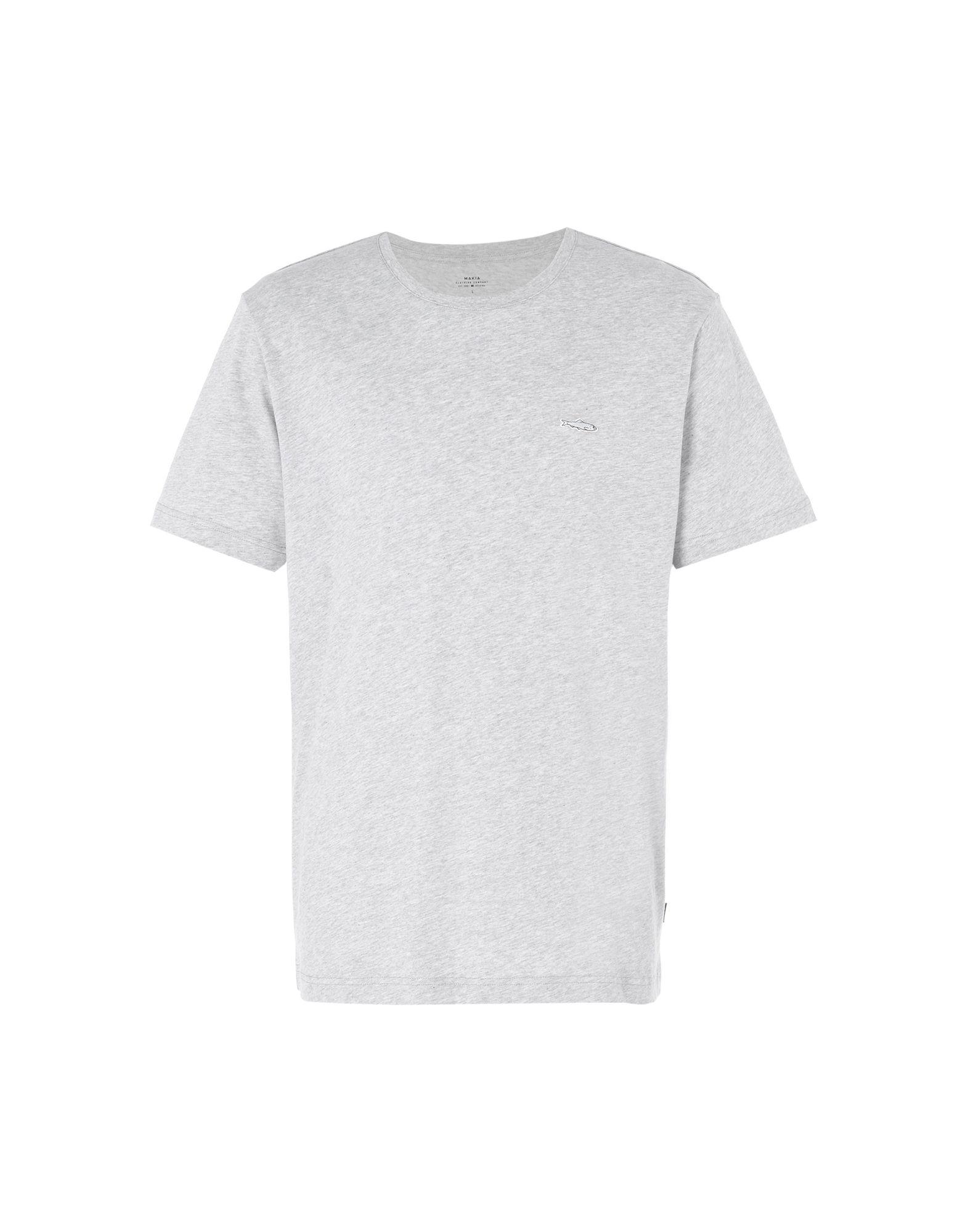 《期間限定セール開催中!》MAKIA メンズ T シャツ ライトグレー S コットン 100% HERRING T-SHIRT