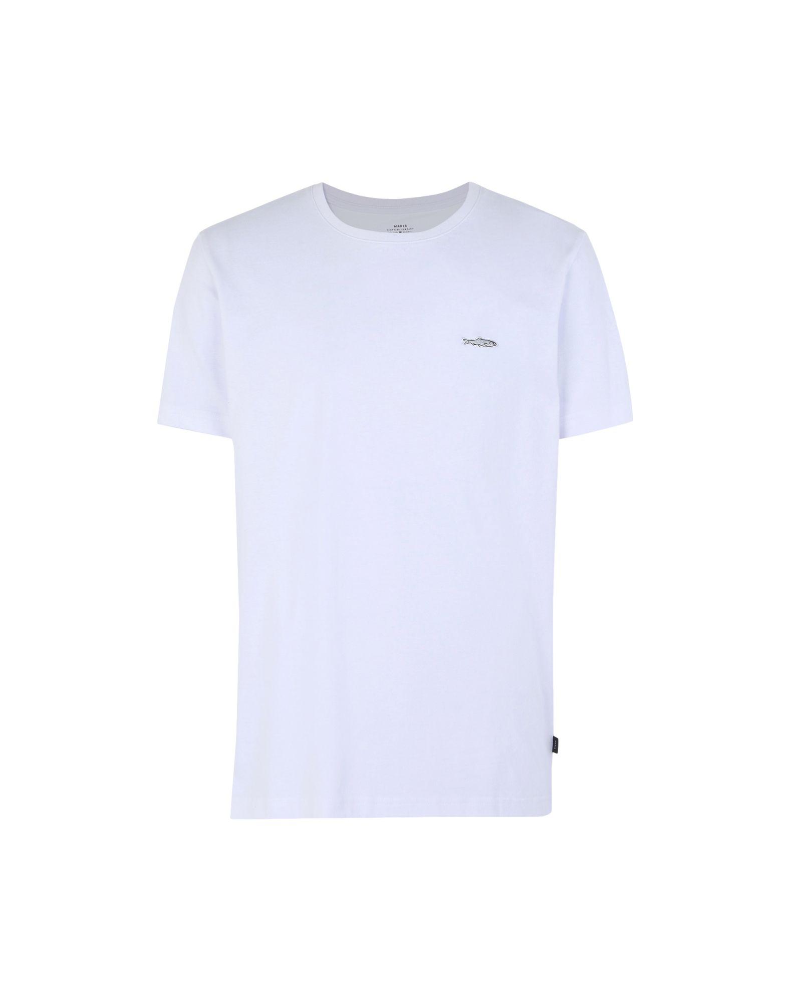 《期間限定セール開催中!》MAKIA メンズ T シャツ ホワイト S コットン 100% HERRING T-SHIRT