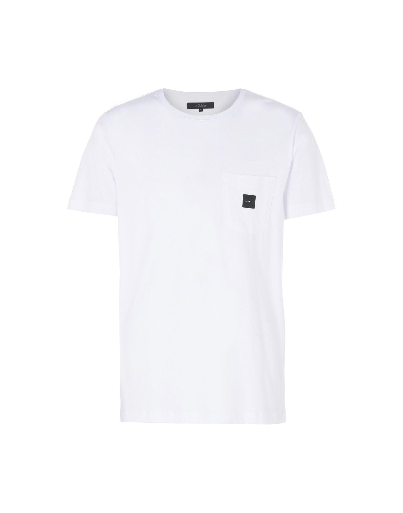 《送料無料》MAKIA メンズ T シャツ ホワイト S コットン 100% SQUARE POCKET T-SHIRT