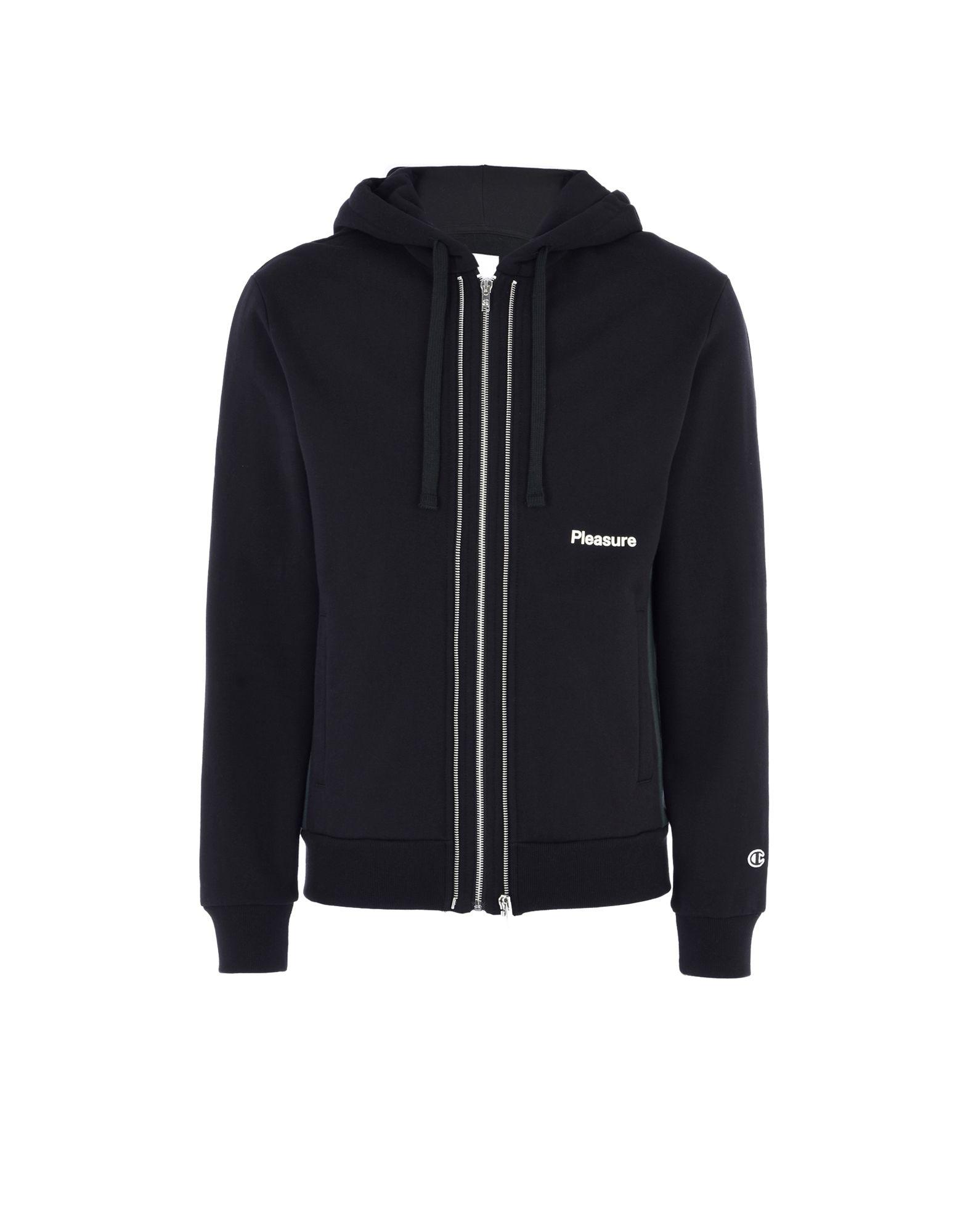 《送料無料》CHAMPION x WOOD WOOD メンズ スウェットシャツ ブラック S コットン 100% LOGO HOODED FULL ZIP SWEATSHIRT