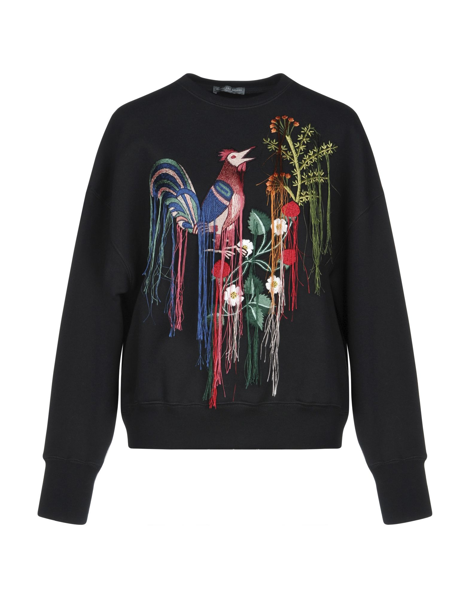ALEXANDER MCQUEEN Sweatshirts. embroidered detailing, solid color, round collar, long sleeves, no pockets. 100% Cotton