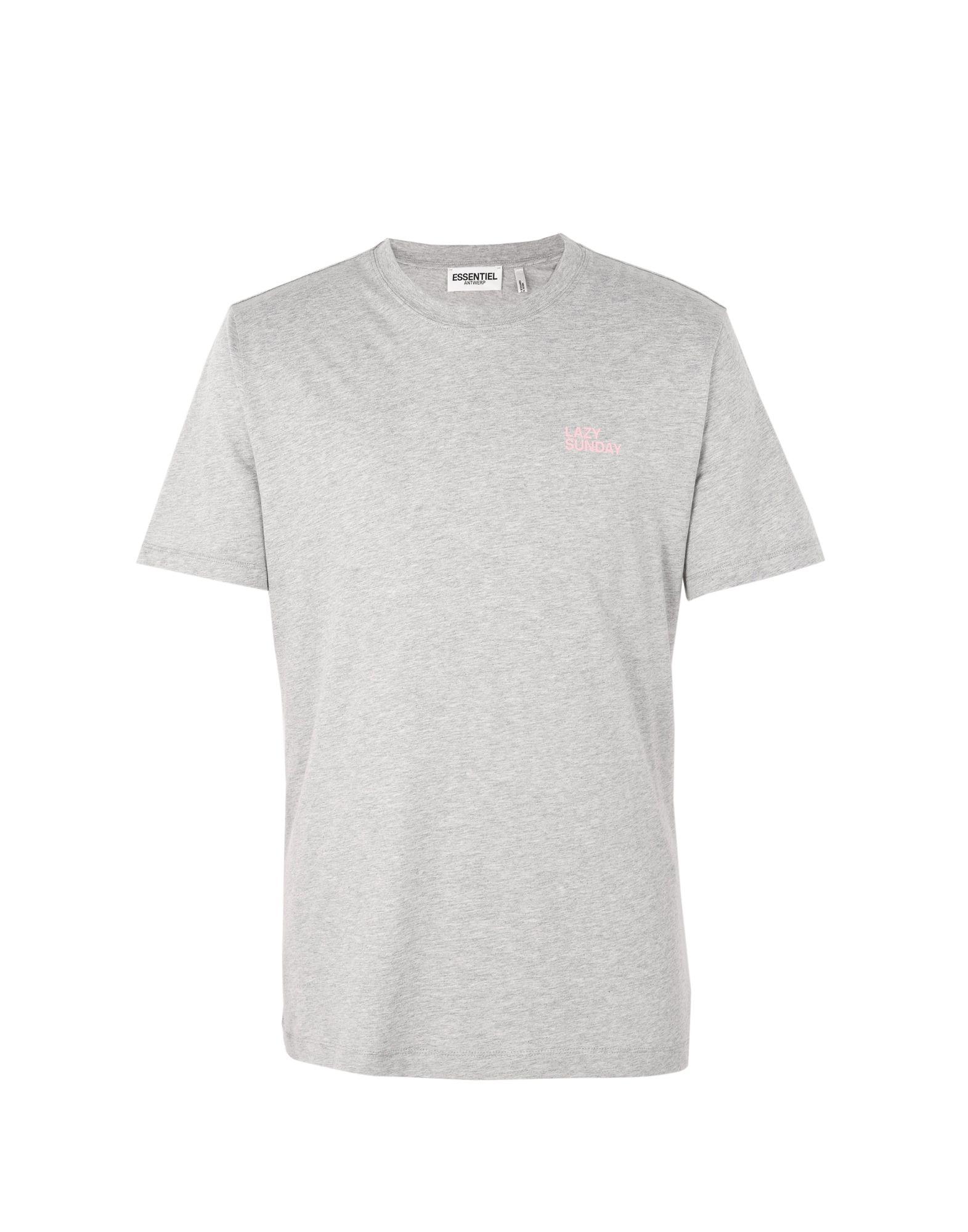 《送料無料》ESSENTIEL ANTWERP メンズ T シャツ ライトグレー S コットン 100% M-kiddy round neck t-shirt