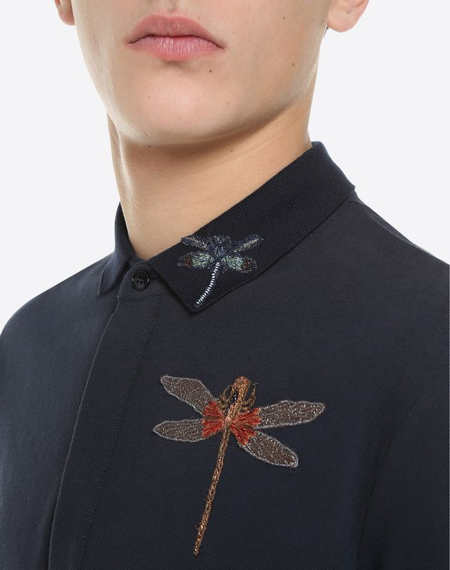 Dragonfly embroidered polo shirt