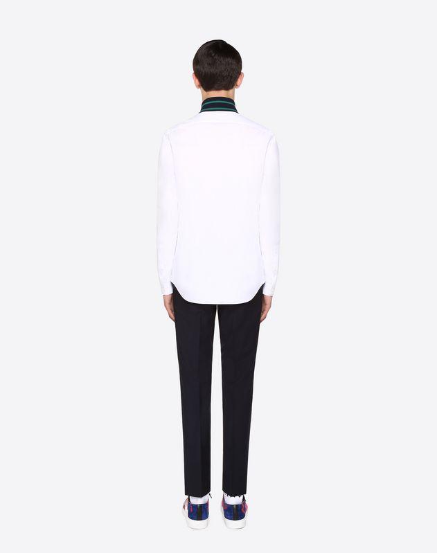 Knit trim shirt