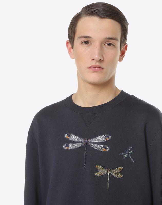 """Rundhals-Sweatshirt mit """"Dragonflies"""" Stickerei"""