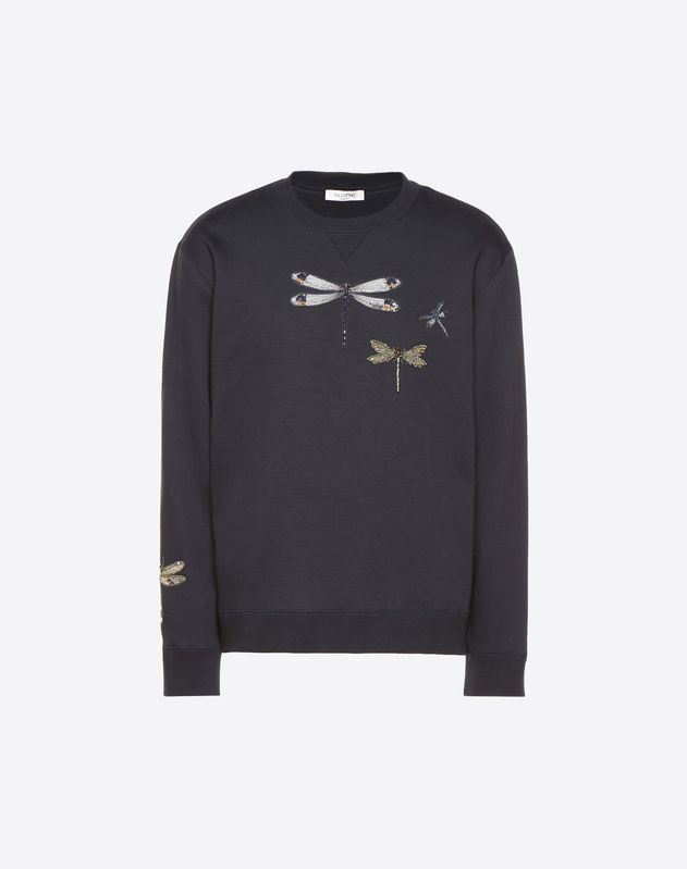 Dragonfly crew-neck embroidered sweatshirt